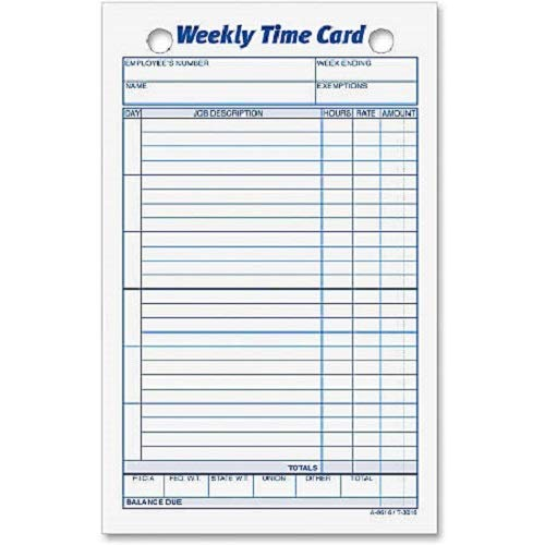 TOPS Weekly Time Cards, Index Bristol Stock, 4.25 x 6.75 Inches, 100-Count, White, (3016)