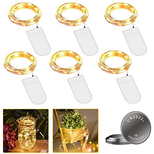 [6 Stück] Molbory Micro LED Lichterkette mit Batterie, 2M 20 LEDs Wasserdicht Lichterketten für Party, Garden, Weihnachten, Halloween, Hochzeit, Beleuchtung Deko, Flasche DIY (Warmweiß)