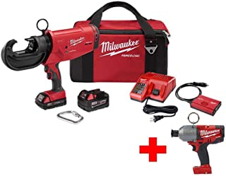 Milwaukee M18 18-Volt Lithium-Ion Cordless FORCE LOGIC 12 Ton Utility Crimper with Free 7/16 in. Hex High Torque Impact Wrench