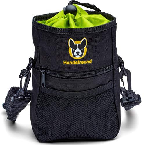 Hundefreund Großer Futterbeutel für Hunde zum Hundetraining | 4 in 1 Futtertasche mit Bauchgurt, Gürtelclip, Gürtelschlaufen und Schulterriemen | 4 Fächer Leckerli-Beutel (19x14x7 cm)