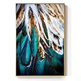 Abstrakte grüne rosa Feder Leinwand Malerei Mode Helle Poster Druck Wohnzimmer Schlafzimmer Dekoration 50x75cm