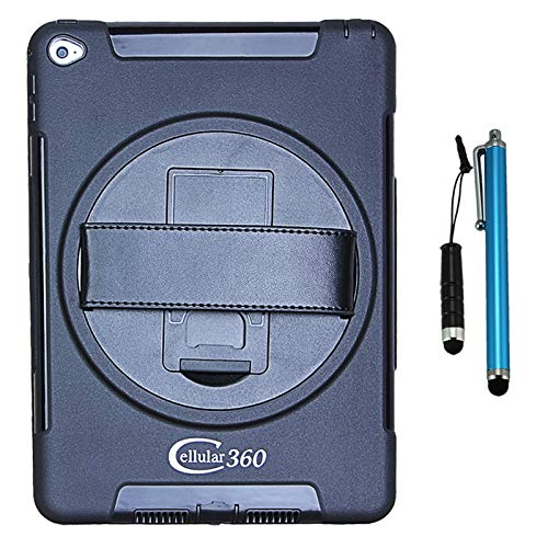 Cellular360 Shockproof Case with 360 Degree Swivel Kickstand and Handle for iPad Air 2 2014 (Black)