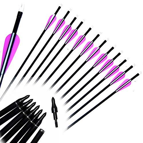 XFC-BAZI, Spina 500, frecce di vetroresina di tiro al Bersaglio di Punto di Pratica Bianco Viola di tiro al Bersaglio per Caccia Arco Compound e ricurvo 1-30pcs 31.5 Pollici (UnitCount : 30pcs)