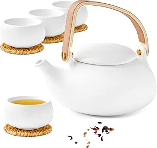 ZENS Teapot Cups Set,Modern Japanese Tea Pot Infuser 27 Ounce with 4 Frosted Ceramic Kongfu Teacup & Rattan Coasters for Loose Tea or Women, White