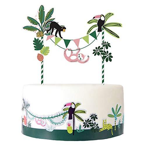 SUNBEAUTY Jungle Thema Dieren Cake Toppers Tropische Bladeren Cake Wrappers Jungle Zomer Verjaardag Baby Douche Party Decoraties