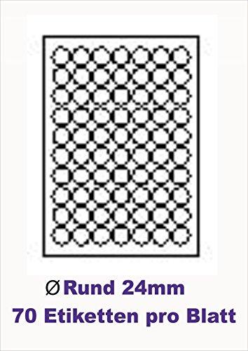 7000 Stk. Selbstklebende WEIßE Etiketten selbstklebend Adressetiketten Markierungspunkte Etikettenformat RUND Ø 24,0mm , 100 Blatt DIN A4, 70g/qm, geeignet für Inkjetdrucker-, Laserdrucker und Kopierer.