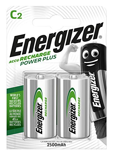 Energizer Piles Rechargeables C, Recharge Power Plus, Lot de 2