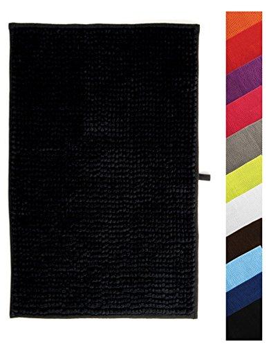 MSV Badteppich Badvorleger Duschvorleger Chenille Hochflor Badematte 40x60 cm – Schwarz