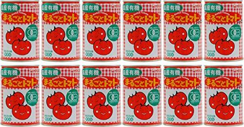 無添加 国産 有機 まるごと トマト 缶 400g入り×12缶★ 宅配便 ★ 収穫した国産有機トマトを薬品処理せず、直ちに皮を手で湯むきし、トマトジュースづけにしたホールトマトの缶詰です。 原材料:有機トマト(国産)、有機トマトジュース(有機トマト(国産)