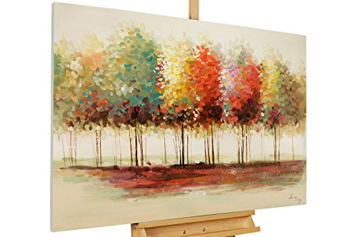 KunstLoft® Acryl Gemälde 'Gradient' 120x80cm | original handgemalte Leinwand Bilder XXL | Bäume Wald Bunt Herbst | Wandbild Acrylbild Moderne Kunst einteilig mit Rahmen