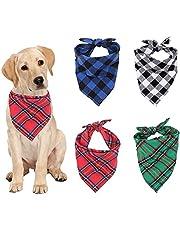 LxwSin Pies bandany, trójkątna bandana dla psa, 4 sztuki w kratę śliniaki szalik, można prać odwracalnie regulowany trójkątny szalik dla psa muszka, bawełniane chusteczki śliniaki dla zwierząt domowych, psów i kotów