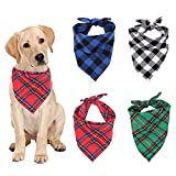 LxwSin Bandana für Hund, Hundehalstuch, 4 Stück Waschbares Kariertes Haustier Halstuch Haustier Bandanas, Reversibel Dreieck Lätzchen für Kleine, Mittelgroße, Große Hunde und Katze