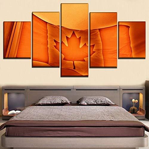 Lienzo Pintura Arte de la pared Cuadros modulares Marco Decoración para el hogar 5 Panel Bandera de Canadá Cartel para sala de estar Impresión moderna