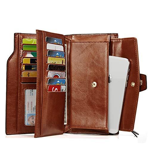 Ölwachs Leder Damen Geldbörse Groß Portemonnaie Lang Geldbeutel mit viele Kartenfächer für Frauen Braun