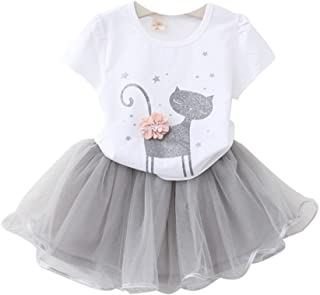 Kids Girl Toddler Baby Girl Summer Casual Short Sleeve Cute Cat & Floral Tutu Dress Clothes