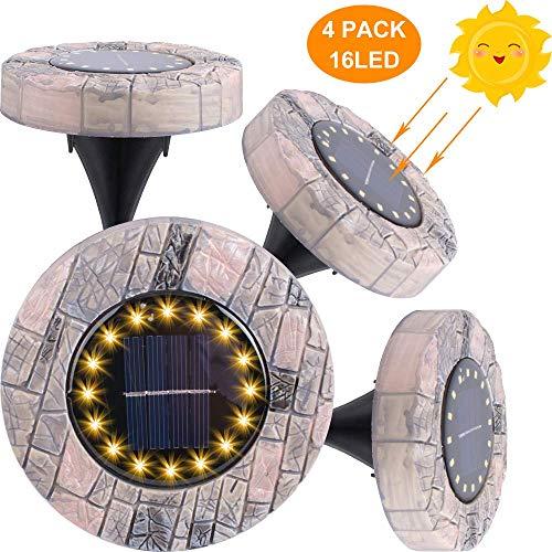 Luces solares de suelo, lámparas solares de jardín con 16 LED IP65 resistente al agua para césped, patio, patio, 4 unidades blanco cálido
