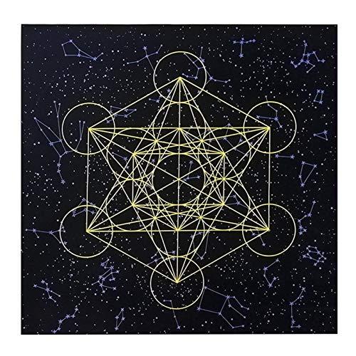 sympuk Gedruckte Schwarze Samt Metatron Heilige Geometrie Kristallgitter Altar Tischdecke