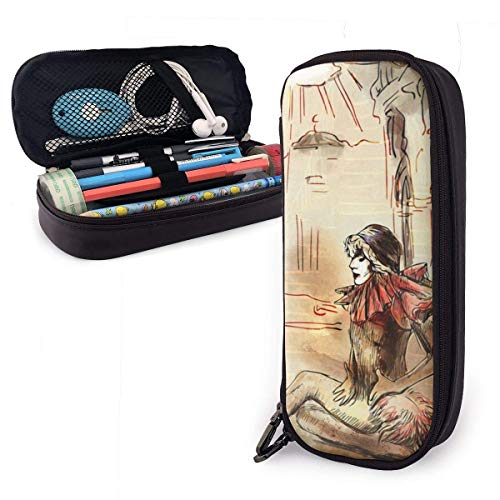 Lsjuee Commedia Dell Arte - an Hand Painted Leather Pencil Case with Zipper,8 X 3.5 X 1.5 Inch Microfiber PU Leather Stationery Art Supplies College Office Pencil Holder Pen Case Pouch Unisex