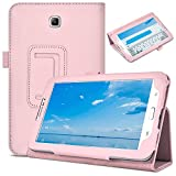 DETUOSI Leather Cover for Samsung Galaxy Tab 3 7.0' 2013 (Model: SM-T210/T217/P3200/P3210) Tablet Case, Galaxy Tab3 7 inch Case,【Multi-Viewing Angles 】 PU Leather Protective Folio Shell Cover (Pink)