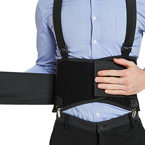 Faja lumbar con tirantes y clips para los pantalones de quita y pon - Ajustable, ligera y transpirable - Para el trabajo o para mejorar la postura - Neotech Care (Negro, XL)