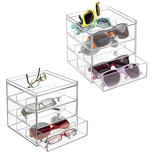 mDesign Juego de 2 apilable Organizador para gafas, gafas de sol, gafas de lectura – 3 Cajones, transparente
