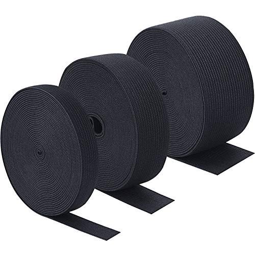 Sunmns 3 Rolls Sewing Stretch Elastic Band Spool, 3/5, 1, 1-1/2 Inch in Width, 5.5 Yards/Roll (Black)