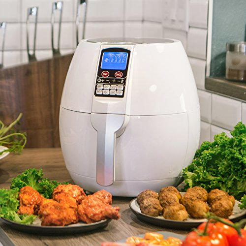 Ensue 3.7 Quart XL Air Fryer Oil-free 1500 Watt Cooker Control Panel LCD w/Recipes Book, White