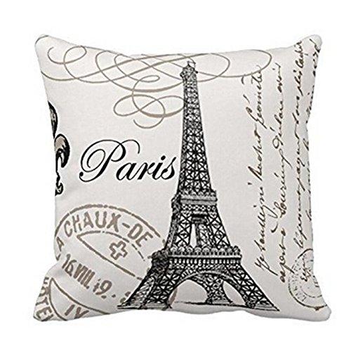 Homebaby Coussin de Paris Tour Eiffel housse de coussin Housses de Coussin en Lin avec Cœur Décoration d'intérieur ou d'extérieur Housses de Coussin Decoration Oreiller Carré Taie d'Oreiller Décoratif