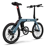 Tuking Bicicleta eléctrica plegable para adultos, desmontable 11,6 Ah, batería de litio, neumáticos de 20 pulgadas, 25 km/h, rango de crucero 80 – 100 kg, para adultos/hombre y mujer (D11 20', azul)