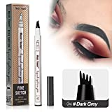 Vanelc Microblading Tattoo Eyebrow Pen with Four Tips,Waterproof Ink Gel Tint Drawing Eyebrow Pencil,Long Lasting Smudge-Proof Natural Hair-Like Defined Brows All Day (Dark Grey)