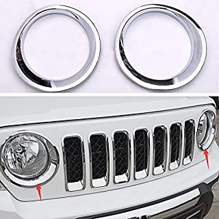 Wotefusi Car New Silver Chrome Color ABS Electroplating Front Headlight Lamp Light Cover Molding Trim Frame Rim Kit Set for Jeep Patriot 2011 2012 2013 2014 2015 2016
