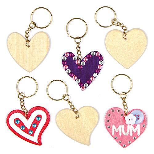 Baker Ross AF906 Ross Schlüsselanhänger aus Holz mit Herzmotiven für Kinder zum Bemalen und Dekorieren zum Valentinstag oder Muttertag (8 Stück)
