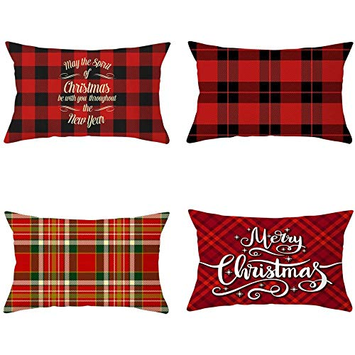 2020 New 4 Piece Set Cartoon Printed Peach skin velvet Christmas Pillowcase Office Sofa Cushion Cover 30 X 50 CM Cushion Cover-Style:8