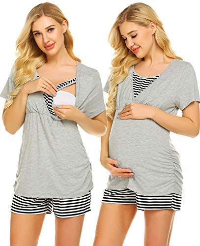 Ekouaer Women's Maternity Nursing Pajamas Set Soft Pregnancy Breastfeeding Pajamas Top & Short Pants Sets (Light Grey S)