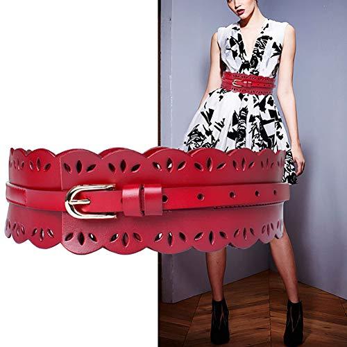 HJKKLL Fashion dames leren riem - opengewerkte kant ontwerp/legering pin gesp super brede riem, geschikt voor lange rokken/jeans/windbreaker en andere kleding
