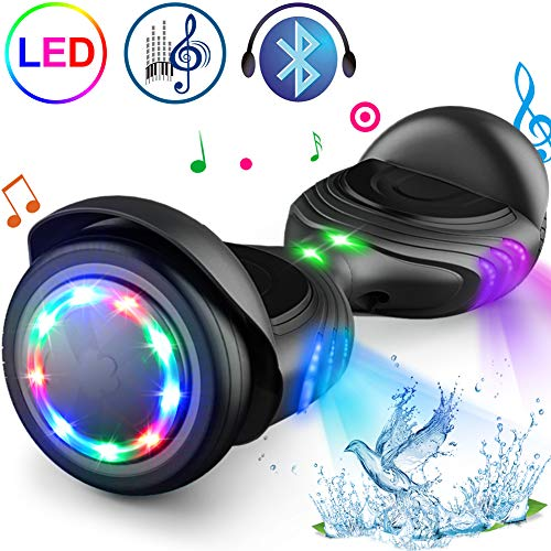 TOMOLOO Hoverboard with Speaker and Colorful LED Lights Self-Balancing Scooter...
