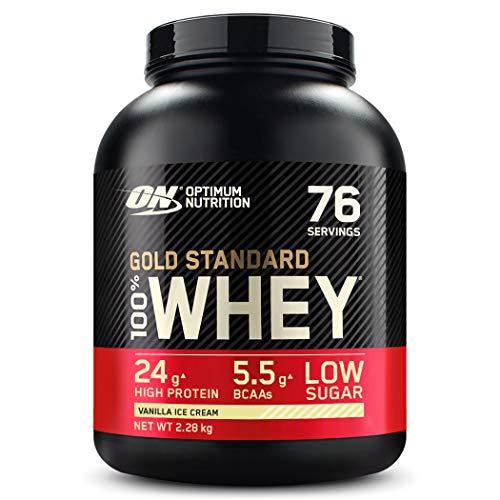 Optimum Nutrition ON Gold Standard Whey Protein Pulver, Eiweißpulver zum Muskelaufbau, natürlich enthaltene BCAA und Glutamin, Vanilla Ice Cream, 76 Portionen, 2.27kg, Verpackung kann Variieren
