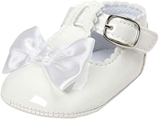 Infant Baby Girls Bowknot Rubber Sole Mary Jane Toddler Sneakers Prewalker Wedding Dress Shoes