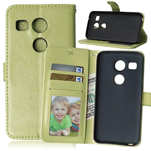 Fatcatparadise Cover per LG Nexus 5X [con Pellicola in Vetro Temperato], Cuoio Portafoglio Flip Magnetico Case Simple Wallet Case Custodia in PU Cover (Verde)