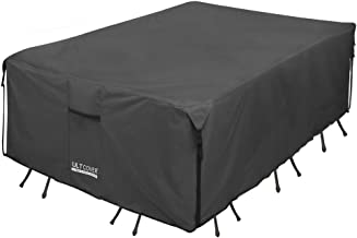 ULTCOVER 600D PVC Durable Rectangular Patio Table with Chair Cover - Waterproof Outdoor Furniture Table Covers 111 x 74 inch, Black