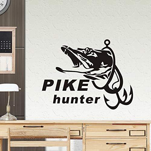 wen-shhen Hecht Fisch Aufkleber Jäger Aufkleber Eimer Takelage Shop Angelhaken Aufkleber Aquarium Boot Rahmen Auto Vinyl