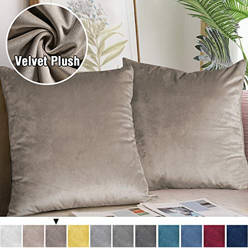 H.VERSAILTEX Original Velvet Cushion Covers 18x18 Throw Pillow Covers for Living Room (Set of 2) Square Luxury Solid Modern Decorative Cushion Cover for Chair/Sofa/Couch Bed, Taupe