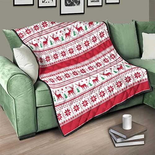 Flowerhome Weihnachten Schneeflocke Elch Tagesdecke Steppdecke Bettdecke Bettüberwurf Sofadecke Couchdecke Schlafdecke Wendedecke für Erwachsene Kinder White 100x150cm