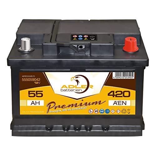 PKW Batterie 12V 55Ah Adler Starterbatterie 55559 statt 44Ah 45Ah 50Ah 52Ah