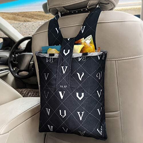 Car Trash Bag Hanging Front Seat LENDOUBLE Waterproof Garbage Can for Auto with Small Storage product image