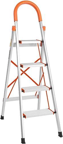 wholesale LUISLADDERS Folding Step popular Ladder 4 Step Ladder Aluminum Step Stool discount Anti-Slip with Rubber Hand Grip Lightweight Multi Purpose Portable Home Ladder 330lbs EN131 online