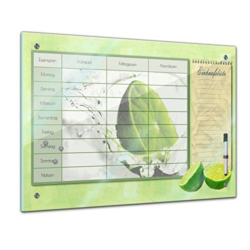 Bilderdepot24 Memoboard 60 x 40 cm, Planer - Limette - Memotafel Pinnwand - Frucht - Früchte - Obst - Obstbild - EIS - Wasser - Limone - Zitrusfrucht- Essenplaner - Übersicht - Wochenplaner - Kochen
