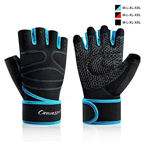 Thiroom Workout Gloves for Crossfit Training, Gym Gloves with Wrist wrap Support,Weight Lifting Gloves, Exercise Gloves for Women/Men (Blue, XXL)