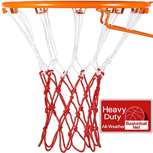 Syhood Basketball Net Hoop Net for All Weather, Fits Standard Indoor or Outdoor Basketball Hoop, 12 Loop (5 Knots, White Red)
