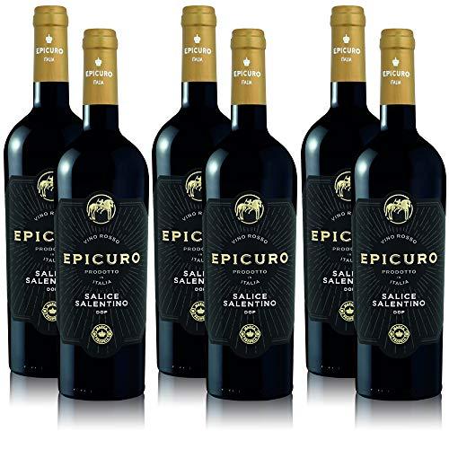 6 Flaschen Rotwein Epicuro Salice Salentino Apulien DOP aus Italien (6 x 0,75 l)